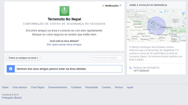 Ferramenta do Facebook notifica pessoas na região do terremoto do Nepal e as ajuda a informar seus amigos sobre sua segurança (Foto: Reprodução/Facebook)