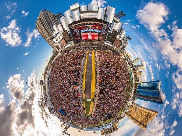 ROCK IN RIO USA: Público acompanha apresentação do rapper Big Sean, no último dia de festival (Foto: Divulgação)