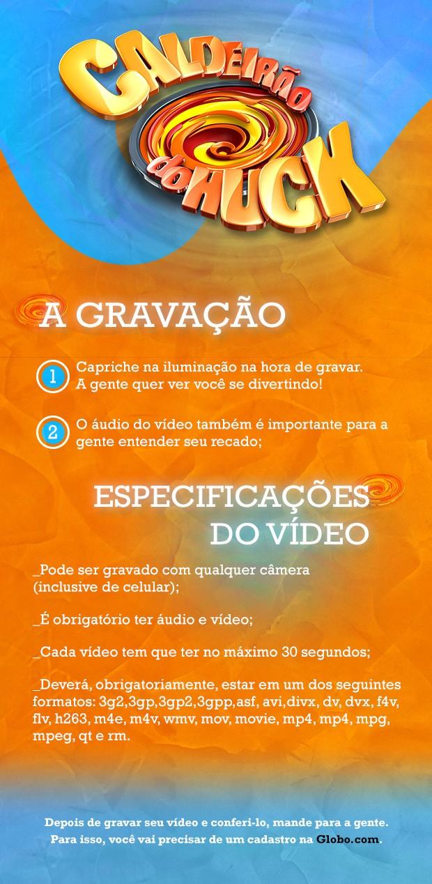 Veja dixas para postar seu vídeo (Foto: Caldeirão do Huck/TV Globo)