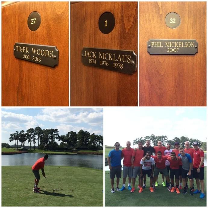 Jogadores dos Estados Unidos brincando de jogar golfe (Foto: Reprodução/Twitter)