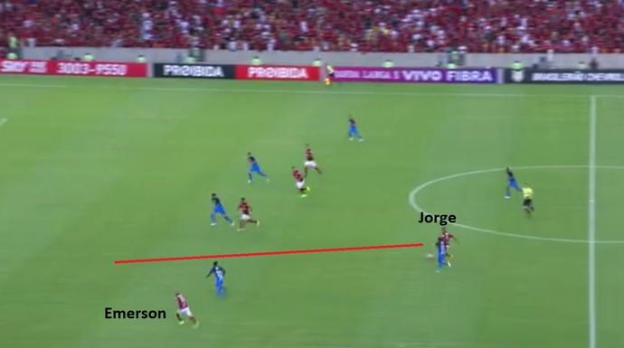 A rigor, Jorge fez a única jogada de meia do time do Flamengo no segundo tempo. No lance, Sheik bateu cruzado e Walter espalmou (Foto: Reprodução)