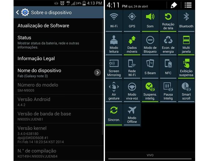Note traz muitas opções de sensores para o usuário em seu Android nativo (Foto: Reprodução)