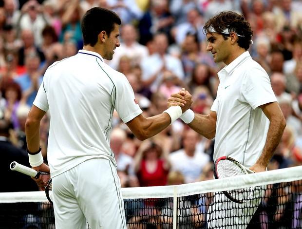 Roger Federer e djokovic semifinal Wimbledon 2012 (Foto: Agência Getty Images)