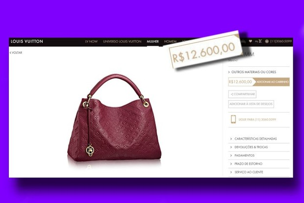 Preço da bolsa de grife usada pela Mulher Melão em evento no Rio (Foto: Reprodução/internet)