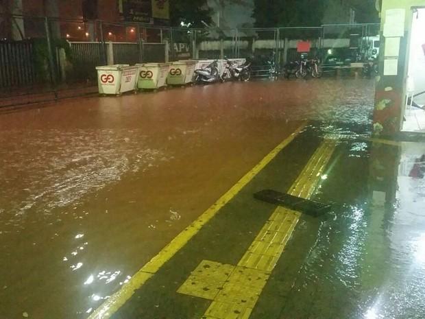 Terminal em Rio Preto ficou alagado durante a chuva (Foto: Reprodução/TV TEM)