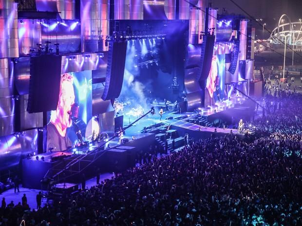 Vista do show do Metallica da torre da tirolesa do Rock in Rio (Foto: Fabio Tito/G1)