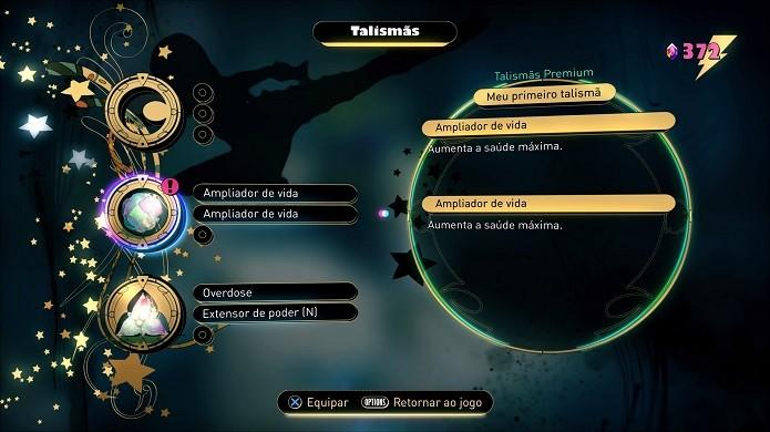 Gravity Rush 2: equipe os talismãs nos três espaços em branco para adquirir novos poderes (Foto: Reprodução/Victor Teixeira)