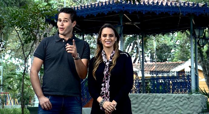 Pedro Leonardo e Aline Lima apresentam o programa deste sábado diretamente de Itapira (SP). (Foto: reprodução EPTV)