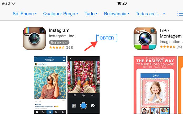 Baixando e instalando o Instagram para iPhone em um iPad (Foto: Reprodução/Marvin Costa)