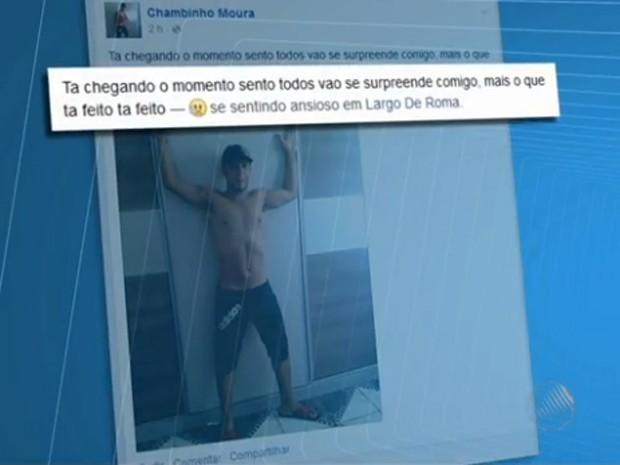 Homem posta na web antes de incendiar padaria (Foto: Reprodução/TV Bahia)