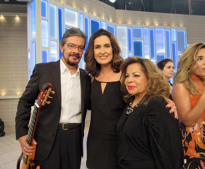 Fátima, Ângela Maria e músico  (Foto: Viviane Figueiredo Neto/Gshow)