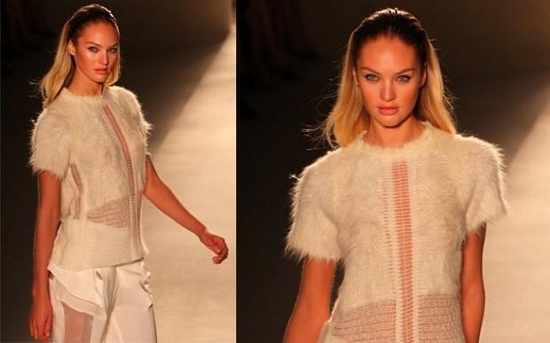 A modelo Candice Swanepoel em apresentação na SPFW (Foto: Divulgação)