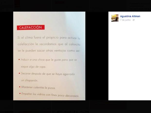 """Chamado de """"Manual de bom uso"""", publicação da Fiat foi considerada machista na Argentina (Foto: Augustina Altman / Facebook)"""
