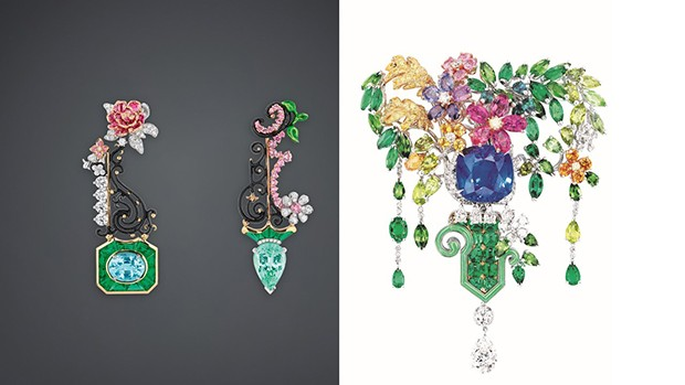 Flowerbeds, groves and thickets are detailed by Victoire de Castellane for Dior At Versailles, In The Gardens. Left: Paraiba Tourmaline Queen's Grove earrings in white, yellow and pink gold, diamonds, Paraiba tourmalines, emeralds, pink sapphires and lacquer; Right: L'Enselade Bodice Jewel. Yellow, white and pink gold with an array of stones including pink and yellow sapphires, diamonds, emeralds, chrysoprases, garnets, peridots, and tourmalines. (Foto: DIOR JOAILLERIE)