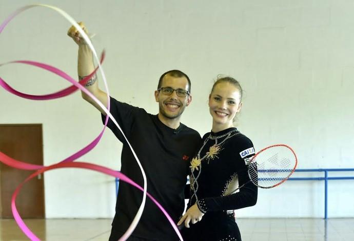 Daniel Paiola, do badminton, e Angélica, da ginástica rítmica (Foto: Arquivo Pessoal)