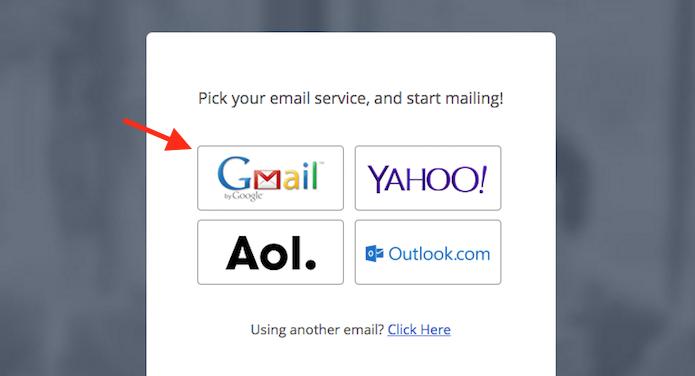 Opção para selecionar o Gmail como serviço de atuação do WiseStamp para Chrome (Foto: Reprodução/Marvin Costa)