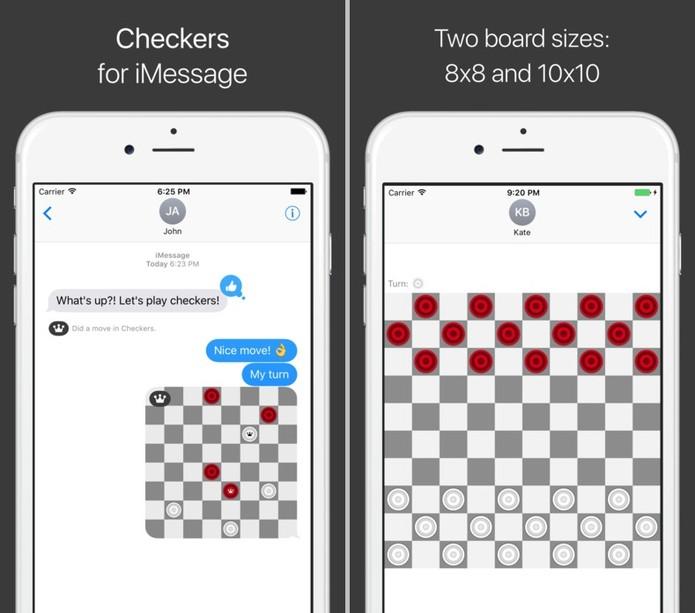 Com dois tamanhos de tabuleiro, o app leva o jogo de damas para suas conversas (Reprodução/ App Store)