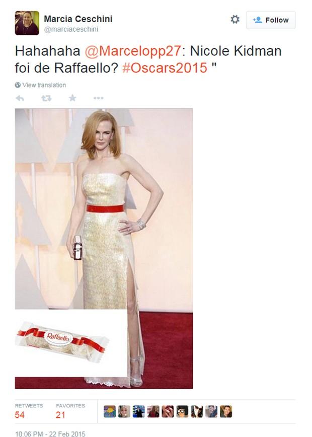 Os internautas reconheceram de cara o estilista por trás do vestido de Nicole Kidman (Foto: Reprodução/Twitter/marciaceschini)