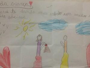 Carta que Yasmin fez para entregar junto a peruca (Foto: Arquivo Pessoal)