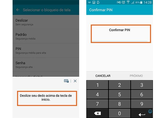 Confirme o acesso com sua senha já registrada no Galaxy S5 (Foto: Reprodução/Barbara Mannara)