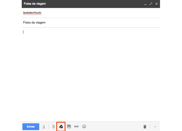 No Gmail, anexe arquivos usando o Google Drive (Foto: Reprodução/Paulo Alves)