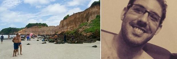 Corpo de Diogo Rosembergh da Silva Nóbrega, de 26 anos, foi encontrado em meio às falésias de Cotovelo, no RN (Foto: Heloísa Guimarães/Inter TV Cabugi e Arquivo Pessoal)