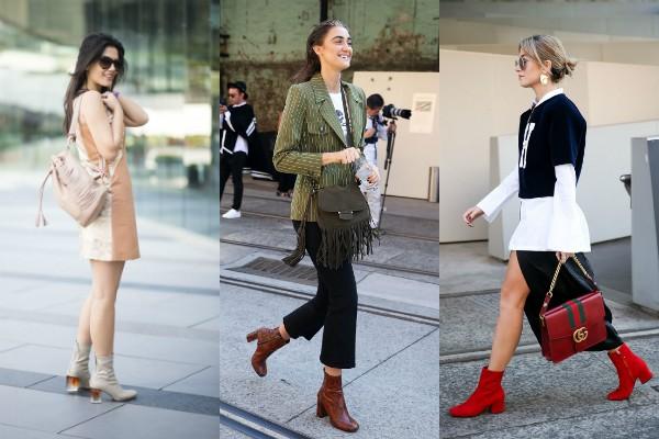 Os modelos com bico redondo e salto quadrado são os hits da estação (Foto: Getty)