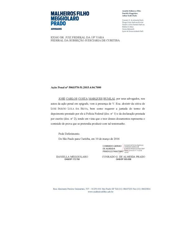 Declaração do ex-presidente Lula à Lava Jato p1 (Foto: Reprodução)