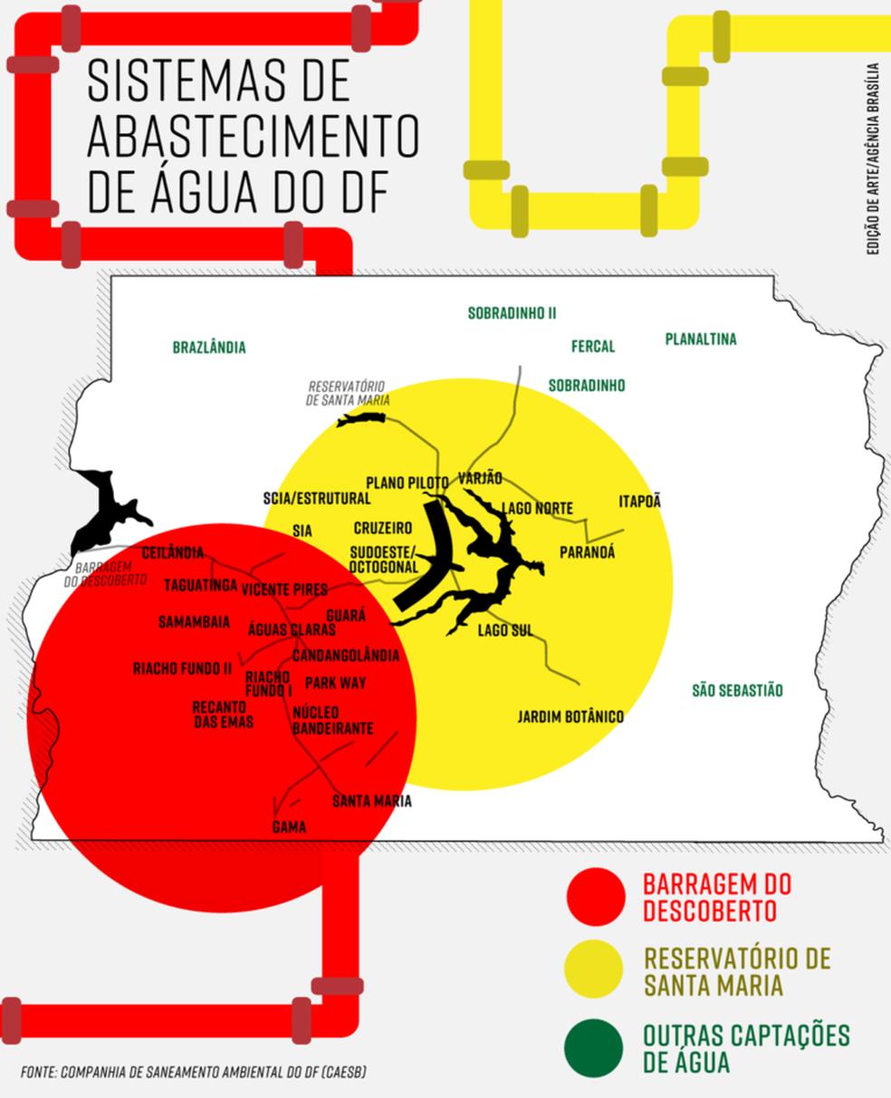 Mapa mostra onde vão funcionar restrições na água; em vermelho, racionamento e em amarelo, redução da pressão (Foto: Agência Brasília/Divulgação)