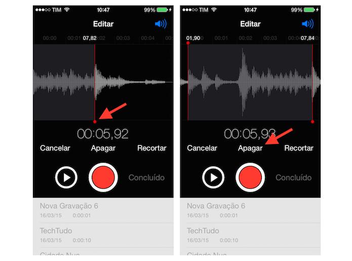 Definindo o trecho do áudio gravado que será apagado no gravador do iOS (Foto: Reprodução/Marvin Costa) (Foto: Definindo o trecho do áudio gravado que será apagado no gravador do iOS (Foto: Reprodução/Marvin Costa))