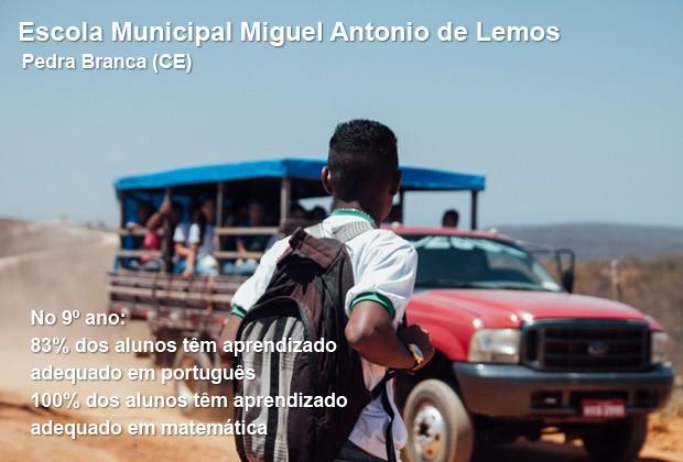 Escola municipal Miguel Antonio de Lemos, em Pedra Branca (CE) (Foto: Gabriela Portilho)