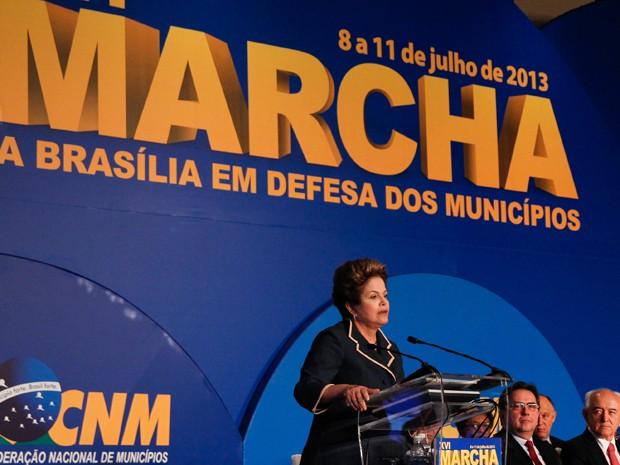 Dilma discursa na Marcha dos Prefeitos (Foto: Roberto Stuckert Filho/PR)