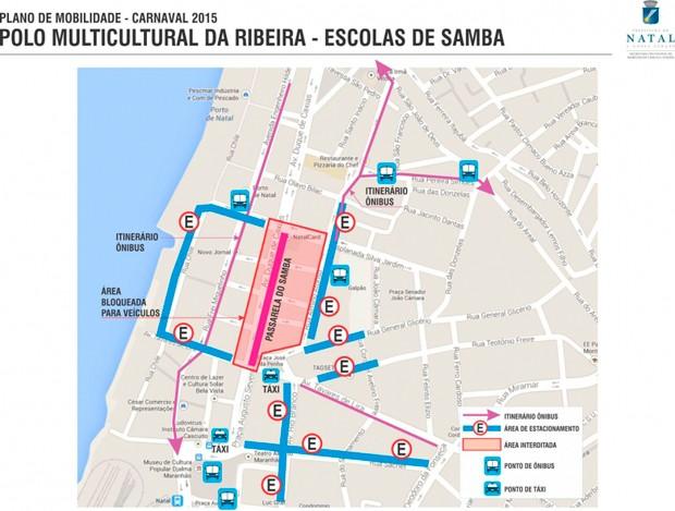 Veja áreas de bloqueio no trânsito do bairro da Ribeira durante o carnaval (Foto: Divulgação/STTU)