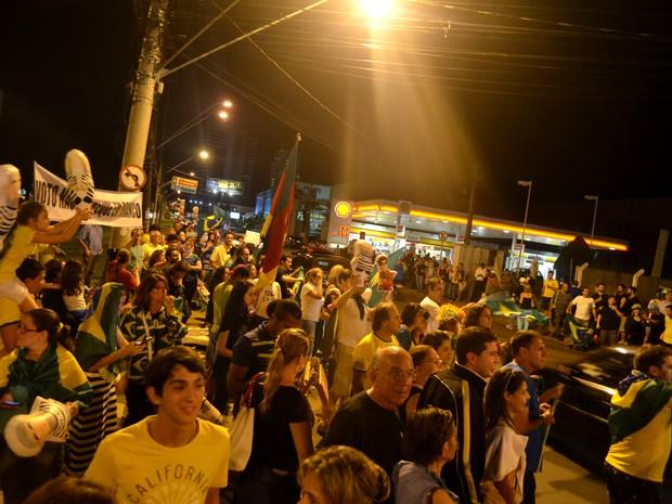 Manifestação anti-Dilma em Ribeirão Preto, SP (Foto: Rodolfo Tiengo/G1)