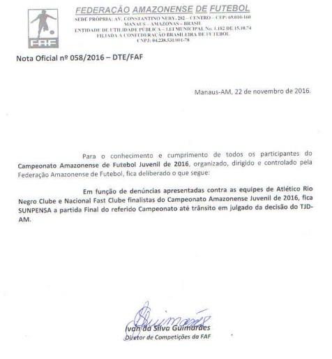 FAF emitiu nota oficial comunicando a suspensão (Foto: Reprodução/FAF)