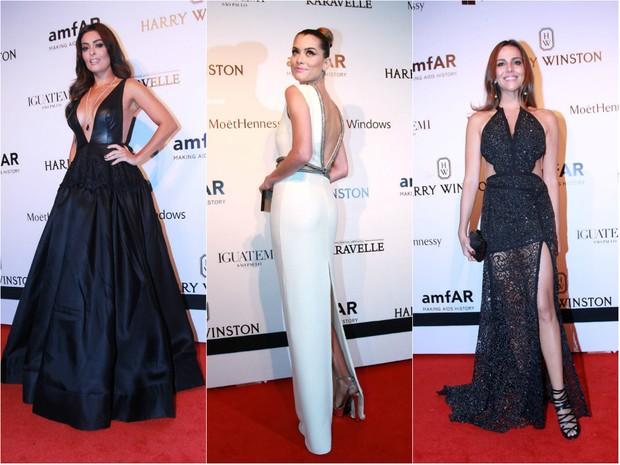 As mais bem-vestidas da amfAR 2015: Juliana Paes, Alinne Moraes e Tainá Müller (Foto: Celso Tavares/Ego e Ag. News)
