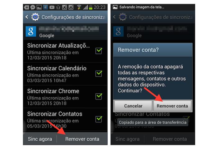 Saindo de uma conta do Gmail no Android (Foto: Reprodução/Marvin Costa)