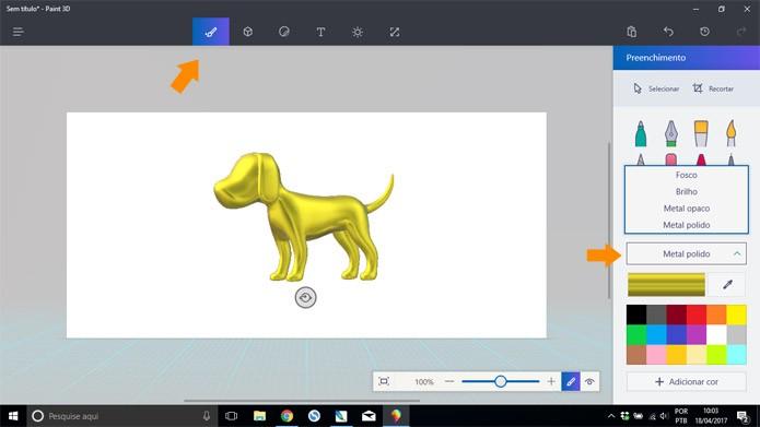 É possível aplicar texturas de material e cores em qualquer objeto 3D (Foto: Reprodução/Pedro Cardoso)
