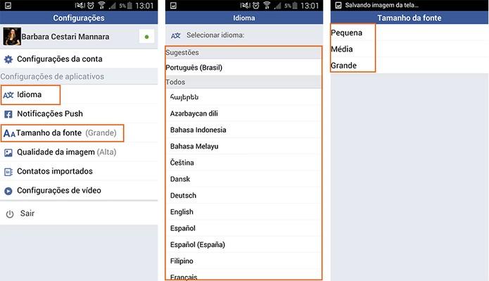 Altere o tamanho da fonte e o idioma do Facebook Lite (Foto: Reprodução/Barbara Mannara)