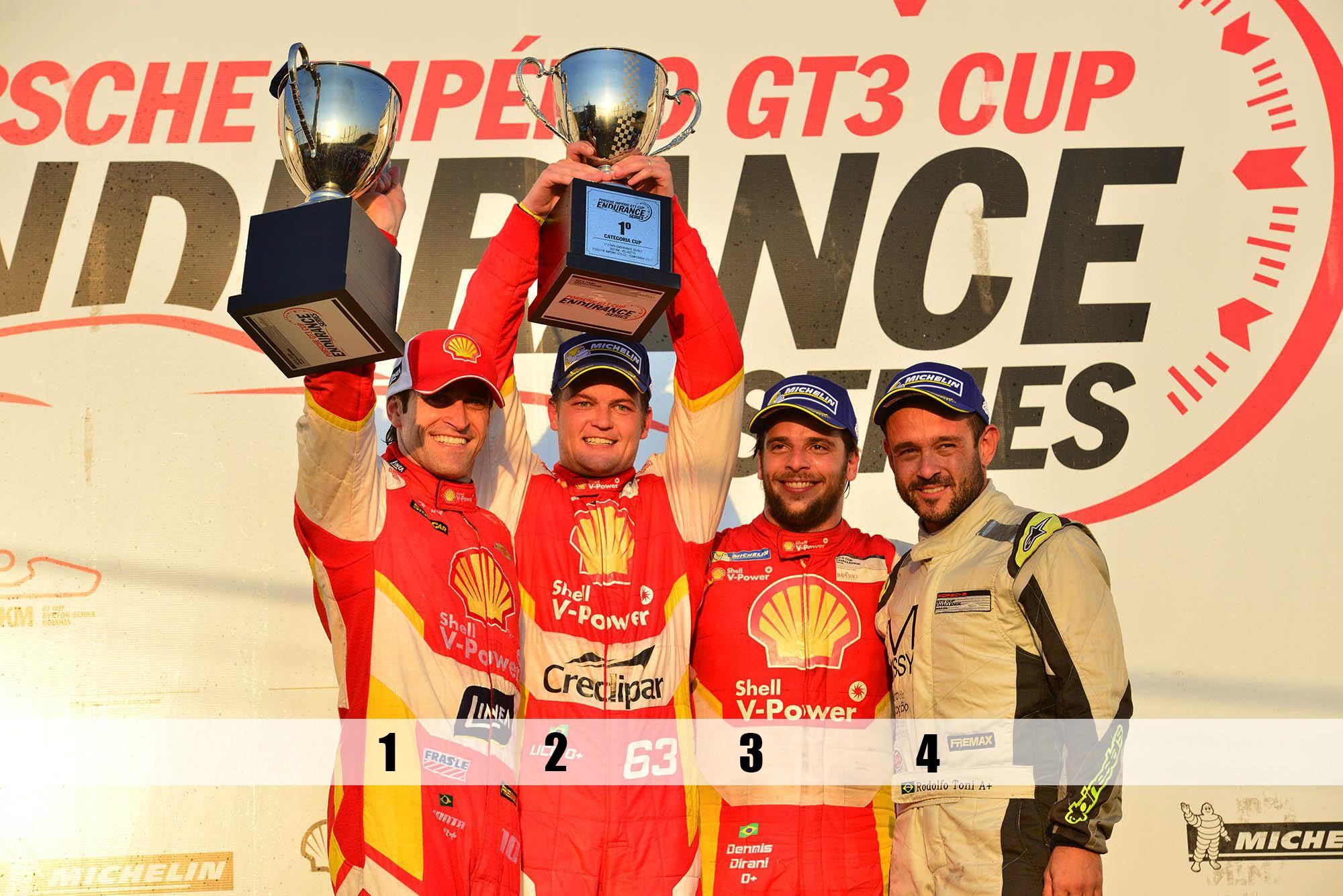 Pódio categoria Cup Endurance Velo Città (Foto: Porsche Império GT3 Cup/Fernanda Freixosa )