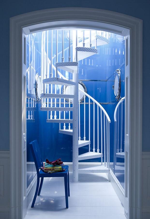 Décor do dia: escada em tons de azul (Foto:  Divulgação)
