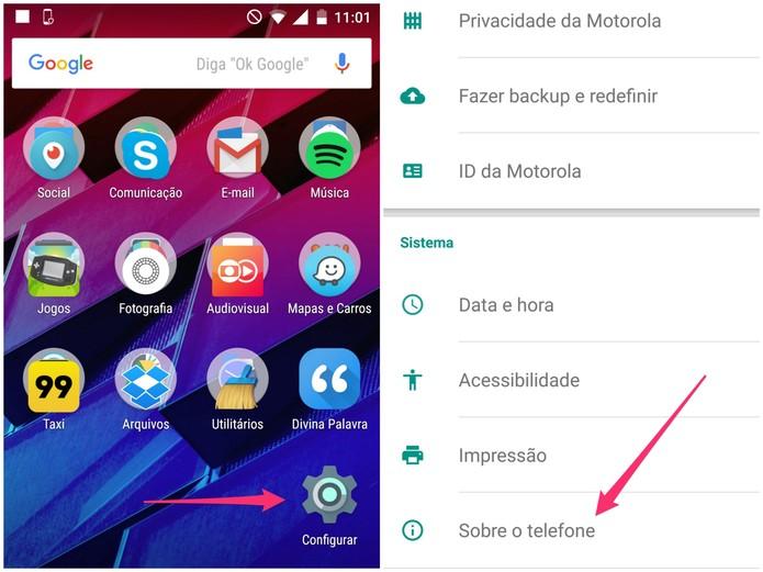Nas configurações do Moto Maxx, escolha Sobre o telefone (Foto: Reprodução/Lucas Mendes)