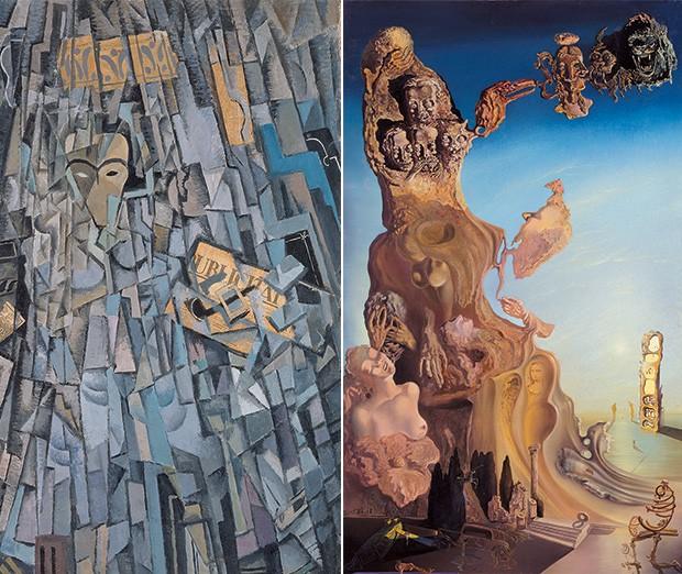 DOIS MOMENTOS 1. Autorretrato cubista, de 1923  2. Monumento imperial a la mujer-niña, de 1929. Em  seis anos, Dalí foi  do Cubismo  de Picasso ao Surrealismo de André Breton (Foto: divulgação)