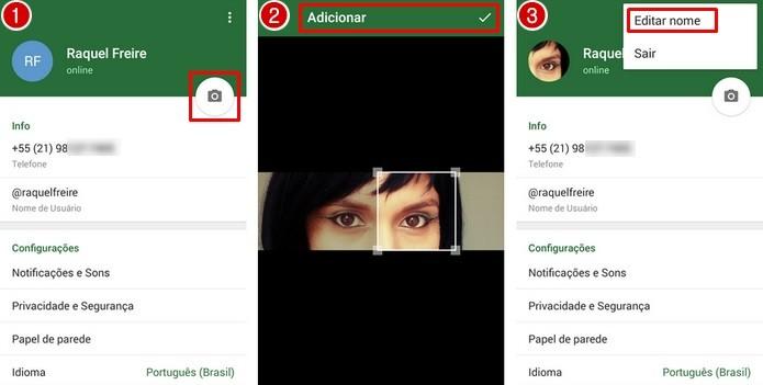 Procedimentos para editar foto do perfil e nome (Foto: Reprodução/ Raquel Freire)
