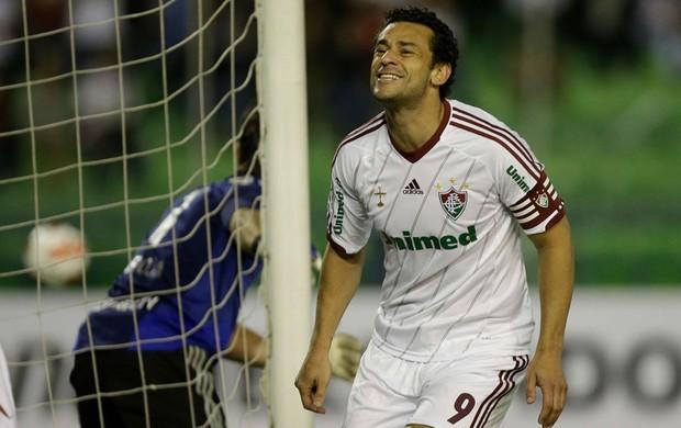 Fred comemora gol do Fluminense sobre o Caracas (Foto: AP)