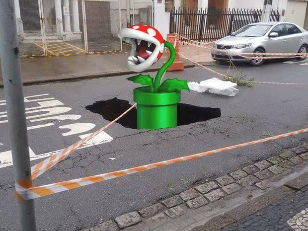 Planta carnívora do jogo Super Mario Bros é 'colocada' no local pelos moradores (Foto: Reprodução / Facebook)