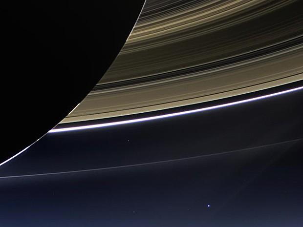 Terra vista a partir de Saturno (Foto: Nasa/Reuters)
