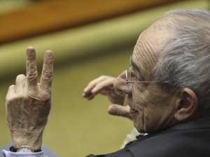O ex-ministro da Justiça Márcio Thomaz Bastos, no plenário do STF durante julgamento do mensalão (Foto: Fábio Rodrilgues Pozzebom/ABr)