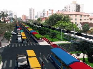Prefeitura de Santos divulga traçado do VLT na Avenida Francisco Glicério (Foto: Reprodução/TV Tribuna)