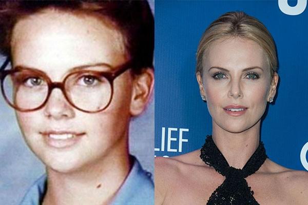 Olhando bem, Charlize Theron não mudou muito desde sua adolescência, mas podemos ver que um óculos e maquiagem podem fazer muita diferença. (Foto: Reprodução e Getty Images)
